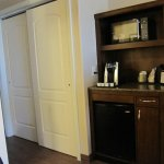 microwave, coffee maker and refrigerator