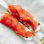 Lox and capers on a Slug bagel (everything bagel)