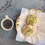 Cucumbin bagel (bagel, cream cheese, cucumbers, slug slime (everything bagel toppings) & larrupi