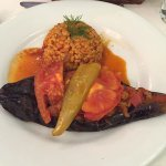 Main course of eggplant stuffed with meat and bulgar pilaf.