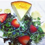 Goat Cheese Cheesecake w/ Alfalfa Sprouts & Strawberry Garnish (GF, Low-lactose) (June 2016)