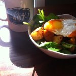 Southwest Egg Bowl (Spinach, Fried Egg, Potatoes, Salsa, & sub hummus for sour cream) (March 201