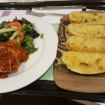 Vegetarian Lasagna and garlic bread