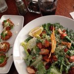Seafood cakes and ceasar salad