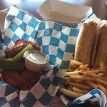 Buffalo wings, tuna melt, and fries.