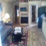 Cabin inside living room,kitchen, upstairs loft (very low ceiling but for kids)