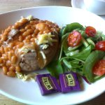 Yummy Jacket Potato with Baked Beans and Cheese at Oliver's, Sherborne, Dorset