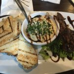 The best way I've eaten beef, probably ever! That's a blue cheese sauce you can dip!