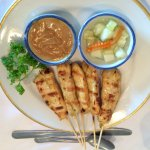 Skewers of Grilled Marinated Chicken Satay