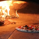 Margherita pizza in the wood oven