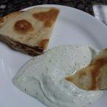 Pita and tzatziki, very tasty