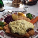 GF chicken schnitzel with bernaise sauce, roasted potatoes, red cabbage, side veggies.