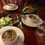 First courses included vegetable base soup, vegetarian rolls, and a delicious papaya salad