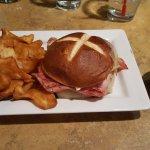 Ham Sandwich on Pretzel Bun with Fries