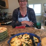 Judy with the incredible quiche which was part of what she made for breakfast.