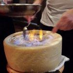 """Cacio e Pepe or """"cheese wheel of fire"""" prepared table side"""