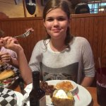 My daughter celebrating with a steak!