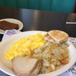 Easton Diner Scrapple, Scrambled cheese eggs (3) and hash browns toast. Yummy enough for two