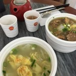 Puer tea Wonton chicken soup & Beef Brisket. Dumplings to follow.