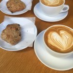 vanilla lattes with their home made chocolate chip cookies