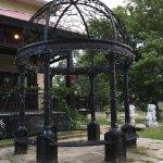 Iron gazebo near entrance
