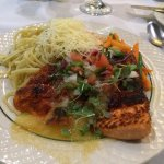 The Sockeye Salmon w/vegetable medley & pasta.