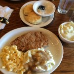 Fried chicken, mash potatoes and gravy, mac 'n' cheese, dumplings, and biscuits
