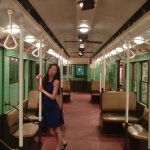 Old subway car with ceiling fans