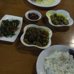 Tamarind salad, egg plant curry, fried rice