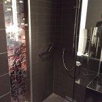 Powerful shower overlooking bedroom