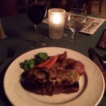 Roasted red potatoes, broccoli, carrots, and blue cheese crusted ribeye steak