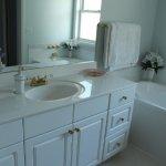 Large vanity sink in shared bathroom