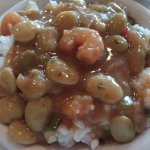 Butter beans with shrimp and rice.
