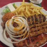 Combo plate: giri, minced pork, skewered pork filet, bacon, rice, fries, cheese
