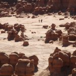 Goblin Valley and people strolling thru it