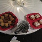 Dessert - sesame balls with pecans and egg tarts with whipped cream.