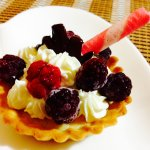 Cream and fresh berries dessert