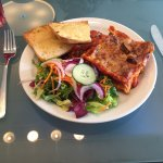 One of the specials - BBQ Chicken Lasagna with salad and garlic bread.