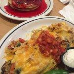 Delicious Chicken Fajita Omelet, buttermilk pancakes, cheesecake pancake, steak tips and more!
