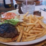 Delicious buffalo burger and fries. Hot and yummy
