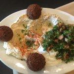 Vegetarian trio-Baba Ghanoush, Hummos, Falafel. Pistachio Baklava, Armenian Coffee, Fresh Pita,