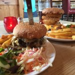 Starter Thai crab cakes Main blue cheese burger and house burger, OMG food is fab!!