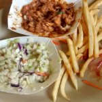 Beans slaw, and fries - three of the 5 food groups.