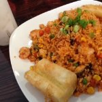Seafood Fried Rice Dish with Horchata