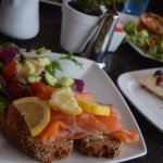 open face salmon sandwich, yummy quiche in the background!