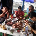 Seafood lunch at a fish farm off Sanduao, Ningde - use your hands!