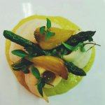 Lemon sole, English asparagus and golden beetroot.