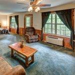 Lower Level of 2 Story Cabin, 1 Queen bed open setting, Queen Sleeper Sofa, 1 Queen bedroom, 1 b