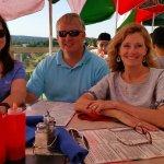 Jani , Joe, and Aunt Julie enjoyed the deck eatting