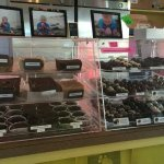 1st pic fudge and assorted chocolates, 2nd assorted candies, and 3rd Strawberry Cheesecake waffl